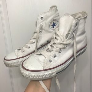 White high top converse size 8 woman's 6 mens